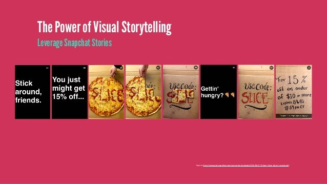 The Power of Visual Storytelling Promotion driven content (exclusive offers for fans) Source: http://mashable.com/2017/01/...