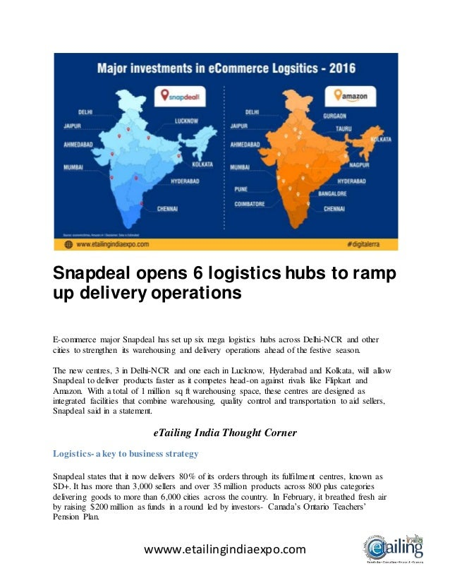 8a7a0cfaa wwww.etailingindiaexpo.com Snapdeal opens 6 logistics hubs to ramp up  delivery operations E ...