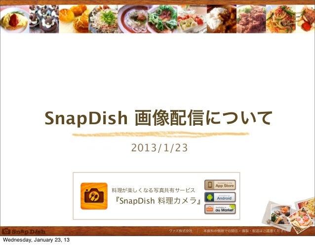 SnapDish 画像配信について                               2013/1/23                            料理が楽しくなる写真共有サービス                     ...