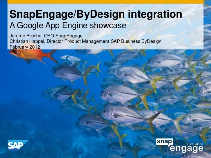 SnapEngage/ByDesign integrationA Google App Engine showcaseJerome Breche, CEO SnapEngageChristian Happel, Director Product...