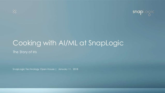 Cooking with AI/ML at SnapLogic SnapLogic Technology Open House | January 11, 2018 The Story of Iris