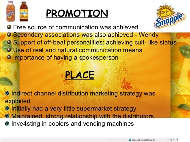 quakers overall strategies and snapples strategies If possible, the name should also complement the overall core values of the   marketers don't create the positioning rather, they create the strategic and   snapple was smart to sell its brand to the quaker company in 1994 for $17  million.
