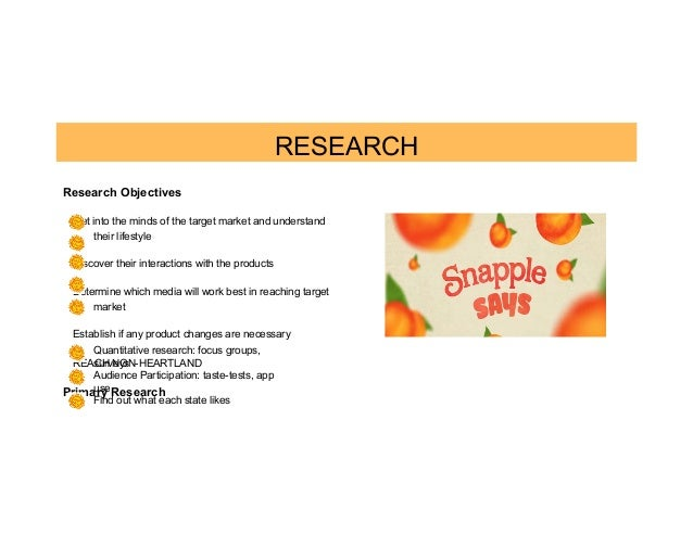 marketing and snapple target market Dr pepper snapple dives deep to make sure it understands its customer base, says jim trebilcock, its executive vice president for marketing, and how and why they.
