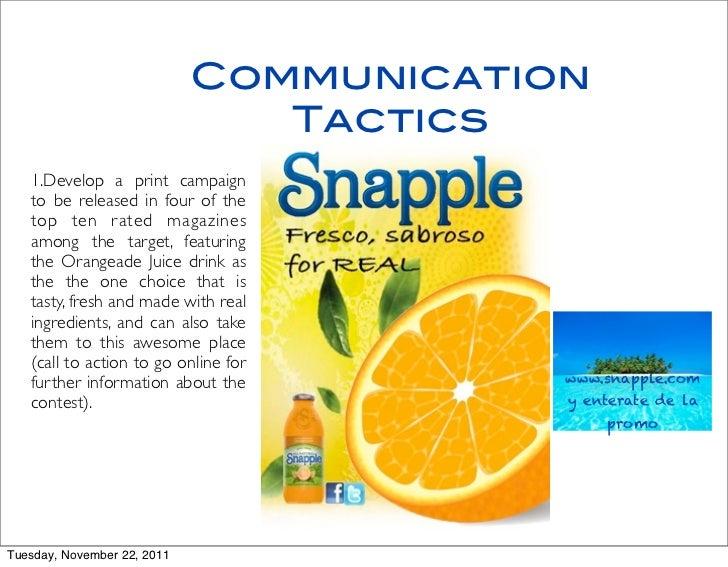 snapple s marketing plan Smartwater marketing plan proposal glaceau: smartwater marketing plan cinthya espinoza maning.