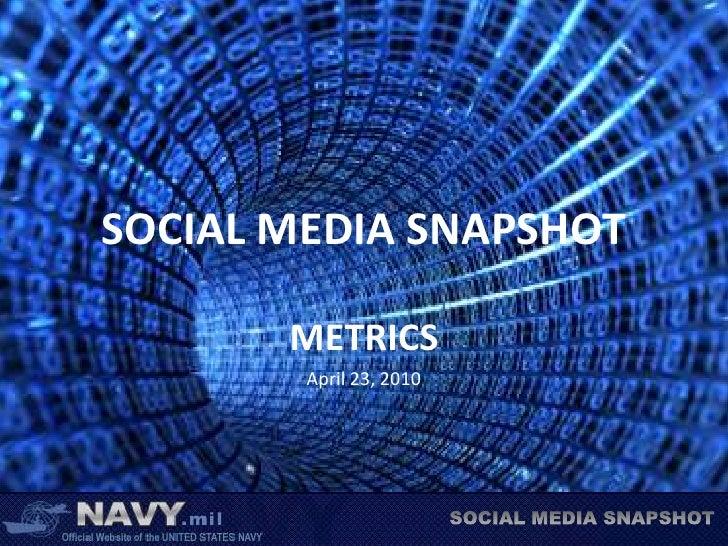 SOCIAL MEDIA SNAPSHOT<br />METRICS<br />April 23, 2010<br />