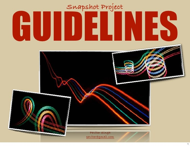 Snapshot Project    GUIDELINES            Paviter Singh         paviter@gmail.com                              1