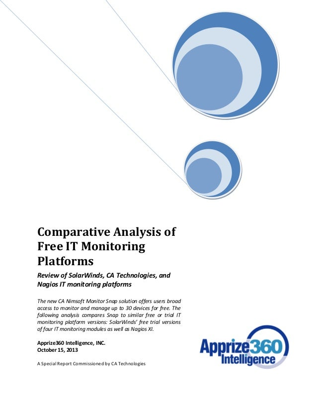 Comparative Analysis of Free IT Monitoring Platforms Review of SolarWinds, CA Technologies, and Nagios IT monitoring platf...