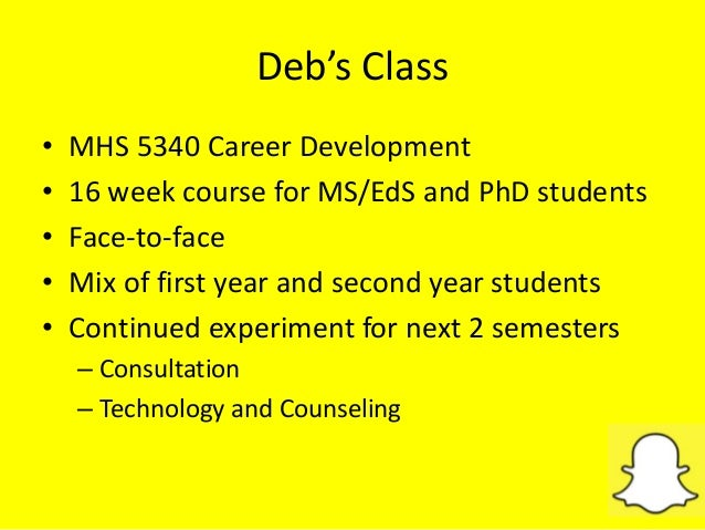 Deb's Class • MHS 5340 Career Development • 16 week course for MS/EdS and PhD students • Face-to-face • Mix of first year ...