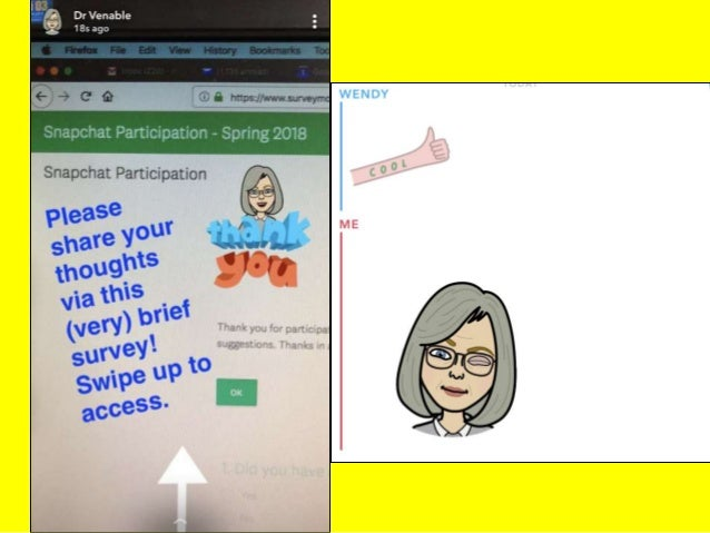 Possible Snapchat Activities  Assignments  Reinforce learning (pictures, brief videos, links, polls, kahoot)  Break up ...