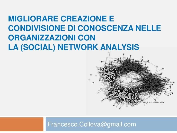 MIGLIORARE CREAZIONE ECONDIVISIONE DI CONOSCENZA NELLEORGANIZZAZIONI CONLA (SOCIAL) NETWORK ANALYSIS                      ...