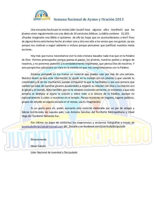 Semana Nacional de Ayuno y Oración 2013        Una encuesta hecha por la revista Líder Juvenil hace algunos años manifestó...