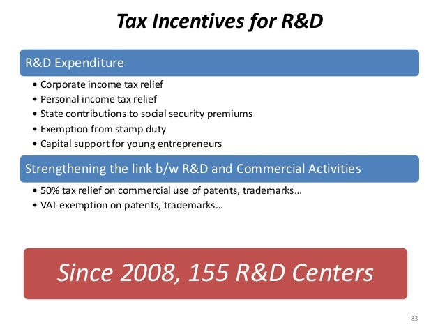 Tax Incentives for R&D R&D Expenditure • Corporate income tax relief • Personal income tax relief • State contributions to...