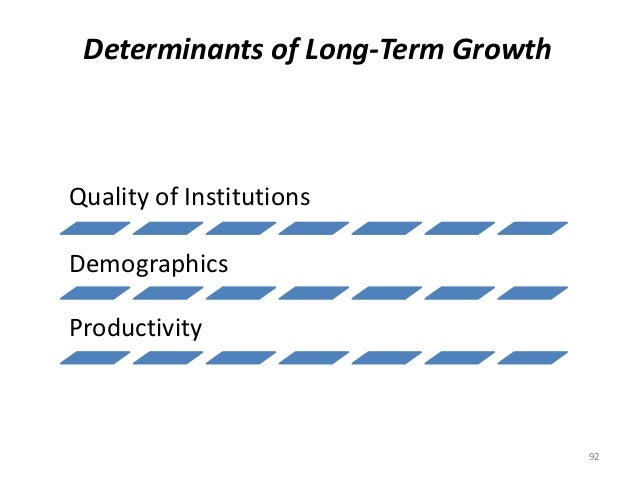 Determinants of Long-Term Growth Quality of Institutions Demographics Productivity 92