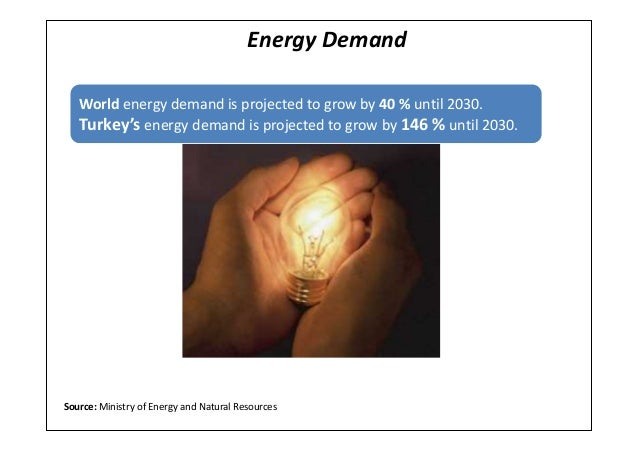 Energy DemandWorld energy demand is projected to grow by 40 % until 2030.Turkey's energy demand is projected to grow by 14...