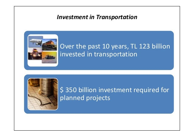 Investment in TransportationOver the past 10 years, TL 123 billioninvested in transportation$ 350 billion investment requi...