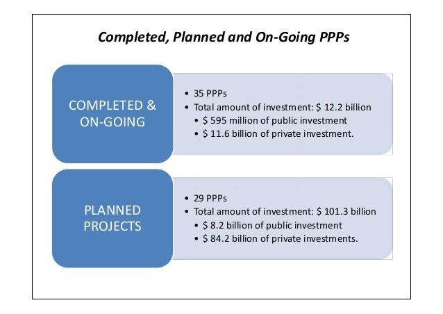 Completed, Planned and On-Going PPPs• 35 PPPs• Total amount of investment: $ 12.2 billion• $ 595 million of public investm...