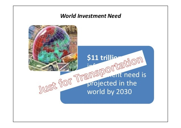 World Investment Need$11 trillion ofinfrastructureinvestment need isprojected in theworld by 2030