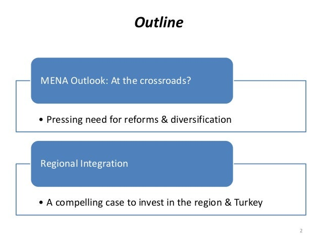 Outline 2 • Pressing need for reforms & diversification MENA Outlook: At the crossroads? • A compelling case to invest in ...