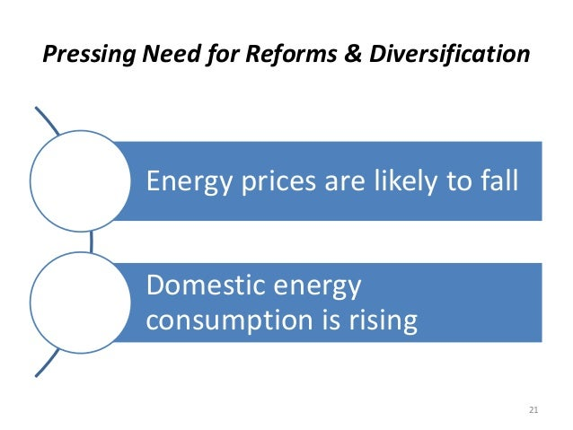 Pressing Need for Reforms & Diversification Energy prices are likely to fall Domestic energy consumption is rising 21