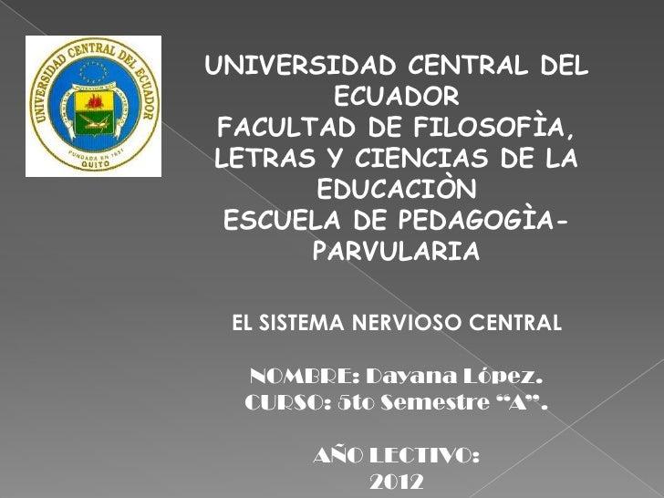 UNIVERSIDAD CENTRAL DEL         ECUADOR FACULTAD DE FILOSOFÌA, LETRAS Y CIENCIAS DE LA        EDUCACIÒN  ESCUELA DE PEDAGO...
