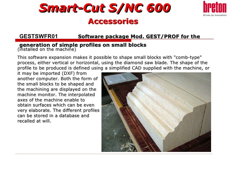 """(installed on the machine) This software expansion makes it possible to shape small blocks with """"comb-type"""" proc..."""