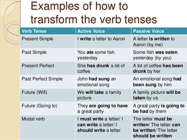 examples of how to transform the verb tenses verb tense