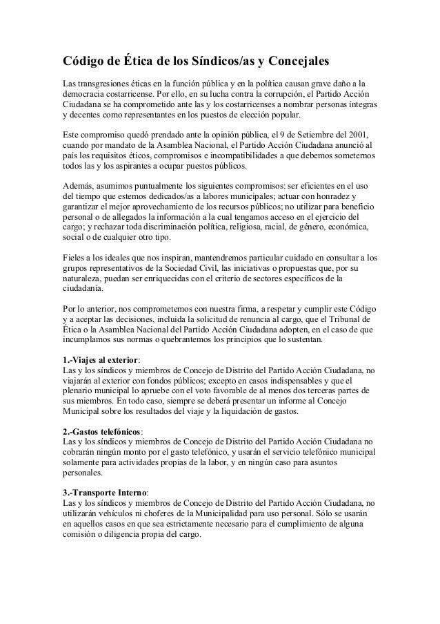 Código de Ética de los Síndicos/as y Concejales Las transgresiones éticas en la función pública y en la política causan gr...