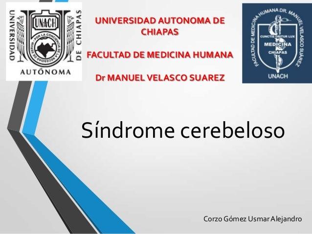 UNIVERSIDAD AUTONOMA DE          CHIAPASFACULTAD DE MEDICINA HUMANA Dr MANUEL VELASCO SUAREZSíndrome cerebeloso           ...