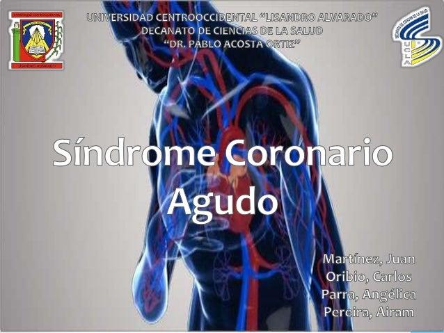 Conjunto de signos y síntomas que resultan de un desbalance entre el aporte y la demanda de oxígeno por parte del miocardi...