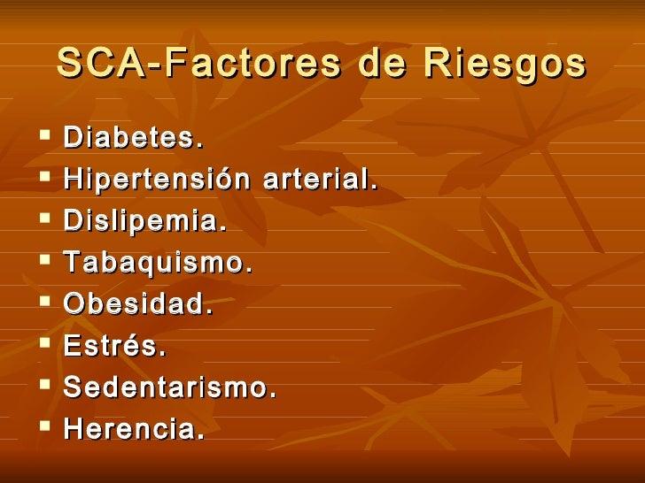 SCA-Factores de Riesgos <ul><li>Diabetes. </li></ul><ul><li>Hipertensión arterial. </li></ul><ul><li>Dislipemia. </li></ul...