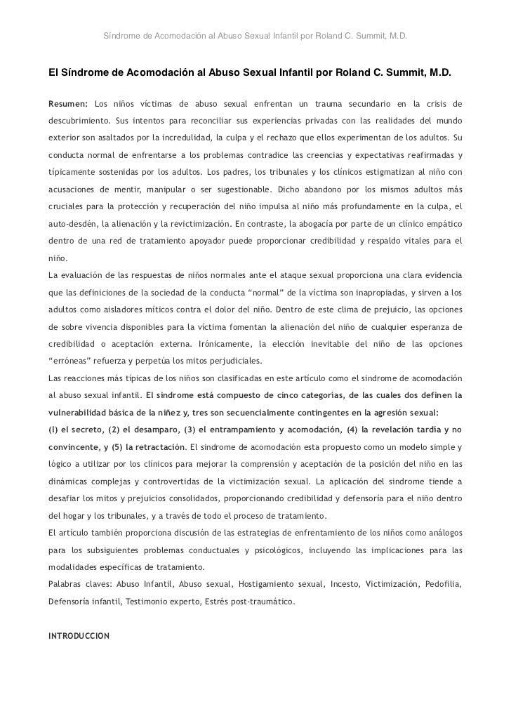 Síndrome de Acomodación al Abuso Sexual Infantil por Roland C. Summit, M.D.El Síndrome de Acomodación al Abuso Sexual Infa...