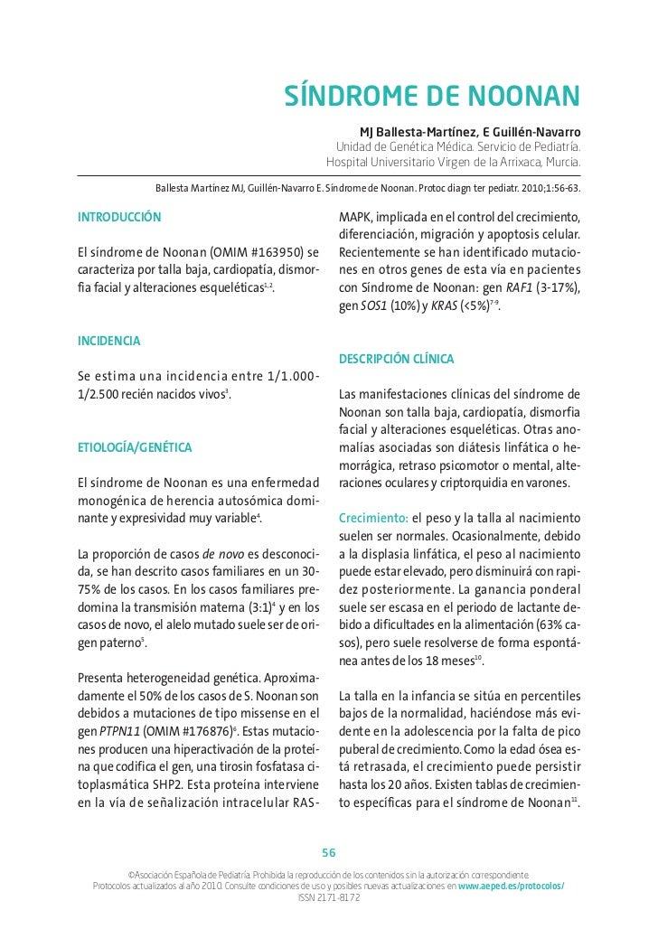 SÍNDROME DE NOONAN                                                                       MJ Ballesta-Martínez, E Guillén-N...