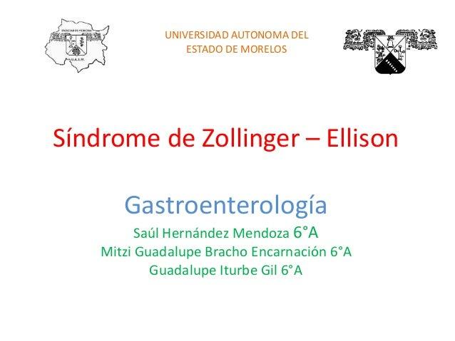 Síndrome de Zollinger – Ellison Gastroenterología Saúl Hernández Mendoza 6°A Mitzi Guadalupe Bracho Encarnación 6°A Guadal...