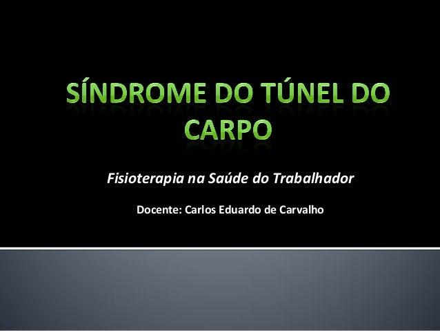 Fisioterapia na Saúde do Trabalhador  Docente: Carlos Eduardo de Carvalho