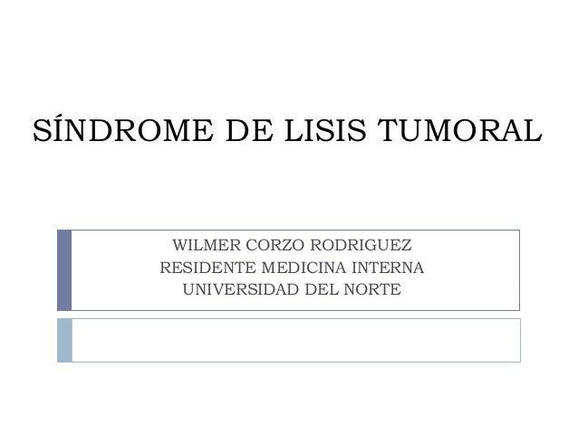 SÍNDROME DE LISIS TUMORALWILMER CORZO RODRIGUEZRESIDENTE MEDICINA INTERNAUNIVERSIDAD DEL NORTE
