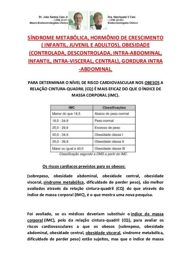 SÍNDROME METABÓLICA, HORMÔNIO DE CRESCIMENTO  ( INFANTIL, JUVENIL E ADULTOS), OBESIDADE (CONTROLADA, DESCONTROLADA, INTRA-...