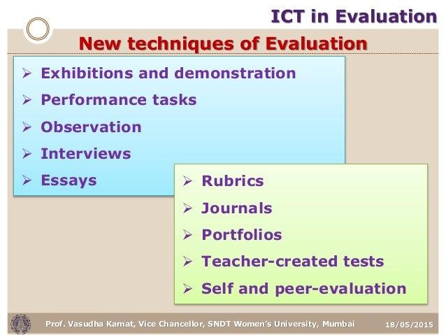 18/05/2015Prof. Vasudha Kamat, Vice Chancellor, SNDT Women's University, Mumbai New techniques of Evaluation  Exhibitions...