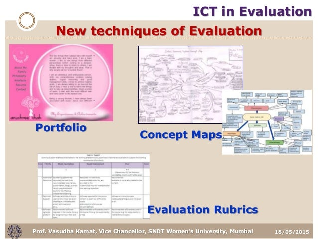 18/05/2015Prof. Vasudha Kamat, Vice Chancellor, SNDT Women's University, Mumbai Portfolio Evaluation Rubrics Concept Maps ...