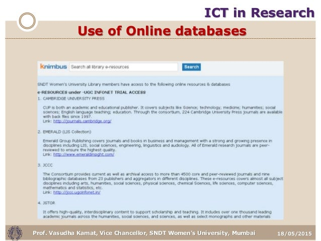 18/05/2015Prof. Vasudha Kamat, Vice Chancellor, SNDT Women's University, Mumbai Use of Online databases ICT in Research