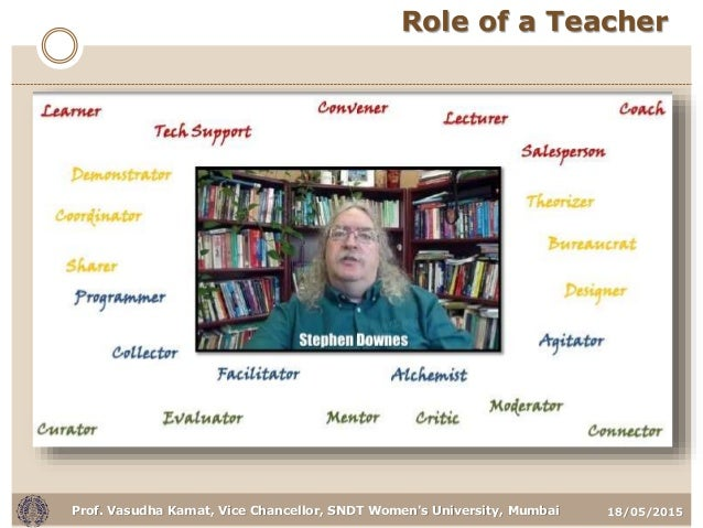 18/05/2015Prof. Vasudha Kamat, Vice Chancellor, SNDT Women's University, Mumbai Role of a Teacher
