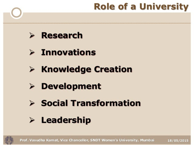 18/05/2015Prof. Vasudha Kamat, Vice Chancellor, SNDT Women's University, Mumbai Role of a University  Research  Innovati...