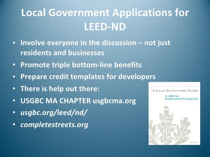 Public And Private Applications For Leed Nd