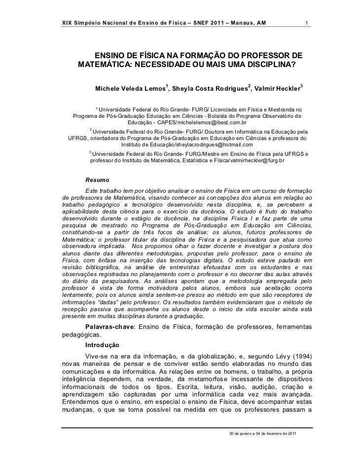 XIX Simpósio Nacional de Ensino de Física – SNEF 2011 – Manaus, AM                                     1        ENSINO DE ...