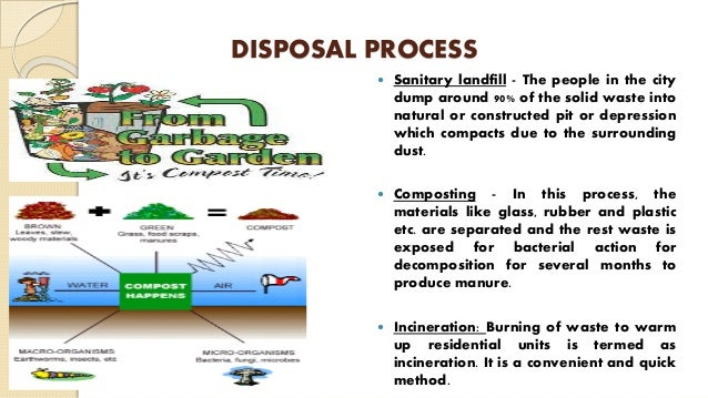 DISPOSAL PROCESS  Sanitary landfill - The people in the city dump around 90% of the solid waste into natural or construct...