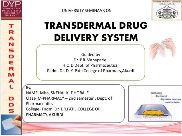 transdermal drug delivery systems pdf