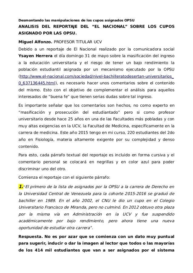 """Desmontando las manipulaciones de los cupos asignados OPSU ANALISIS DEL REPORTAJE DEL """"EL NACIONAL"""" SOBRE LOS CUPOS ASIGNA..."""