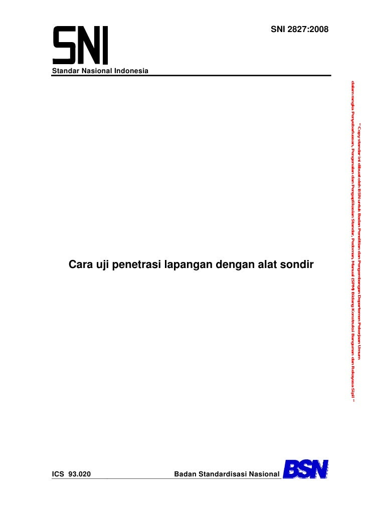 """"""" Copy standar ini dibuat oleh BSN untuk Badan Penelitian dan Pengembangan Departemen Pekerjaan Umum                      ..."""