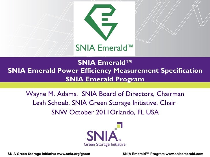 SNIA Emerald™SNIA Emerald Power Efficiency Measurement Specification            PRESENTATION TITLE GOES HERE              ...
