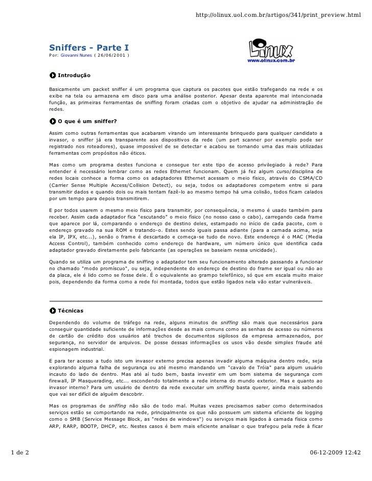 http://olinux.uol.com.br/artigos/341/print_preview.html              Sniffers - Parte I          Por: Giovanni Nunes ( 26/...