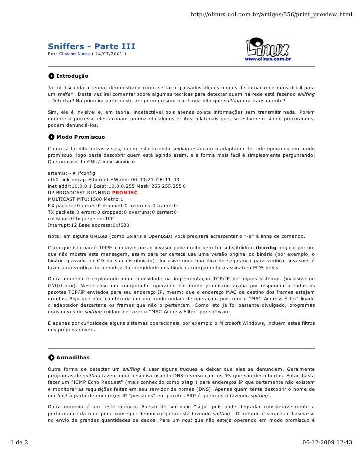 http://olinux.uol.com.br/artigos/356/print_preview.html              Sniffers - Parte III          Por: Giovanni Nunes ( 2...